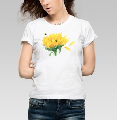 Подсолнух со шмелем - Интернет-магазин женских футболок. Купите женские футболки сегодня.