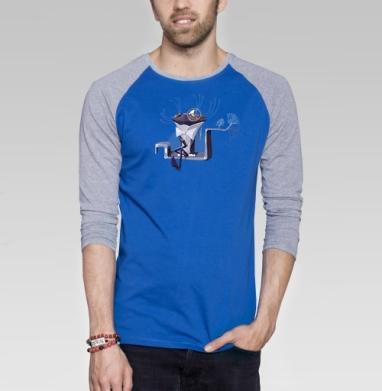 Кот с моноклем - Футболка мужская с длинным рукавом синий / серый меланж, Бабочки