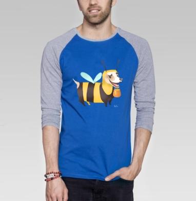Пчелопёс - Футболка мужская с длинным рукавом синий / серый меланж, Мило
