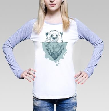Полярный медведь, Футболка женская с длинным рукавом бело-серая
