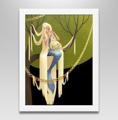 Русалка с длинными волосами, Постер в белой раме