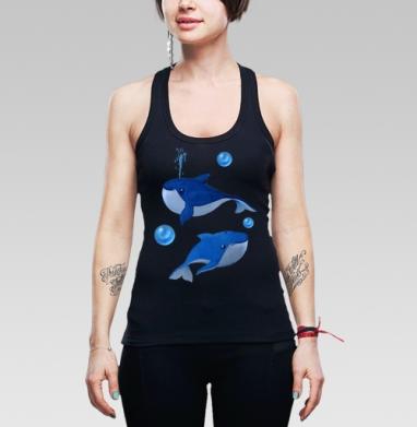 Борцовка женская чёрная рибана 200гр - Весёлые синие киты