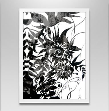 Растительный мотив - Постер в белой раме, серый