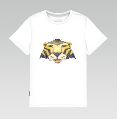 Тигр, Детская футболка белая 160гр