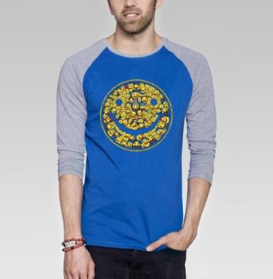 Смайлик - Футболка мужская с длинным рукавом синий / серый меланж, Улыбка