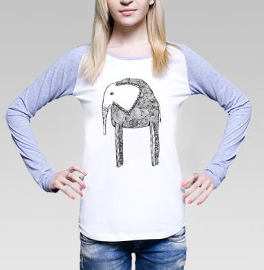 Черно-белый слон, Футболка женская с длинным рукавом бело-серая