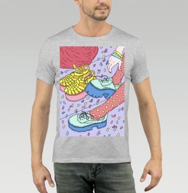 Футболка мужская серый меланж, серый меланж - Интернет магазин футболок №1 в Москве
