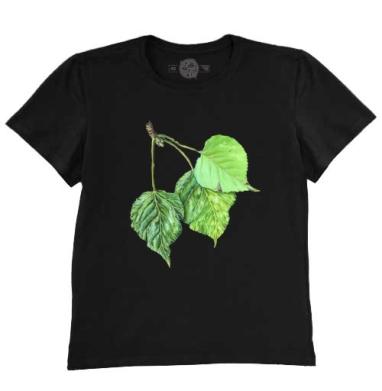 Листья тополя, Футболка мужская чёрная 200гр