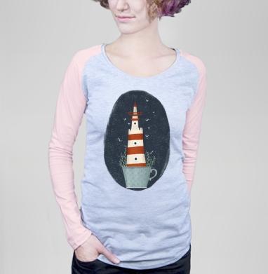 Маяк Колумбия Блу - Футболка женская с длинным рукавом серый меланж/розовая