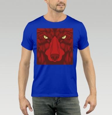 Квадратный волк - Футболка мужская синяя, Популярные