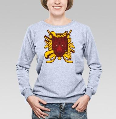 Дикий хоккейный волк - Купить детские свитшоты с волками в Москве, цена детских свитшотов с волками  с прикольными принтами - магазин дизайнерской одежды MaryJane