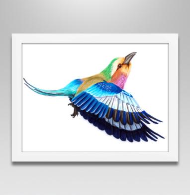 Яркая летящая птица - Постер в белой раме