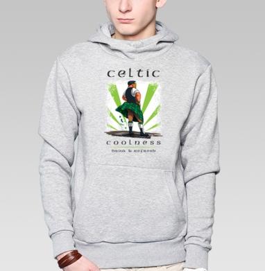Кельтская свежесть, Толстовка мужская, накладной карман серый меланж