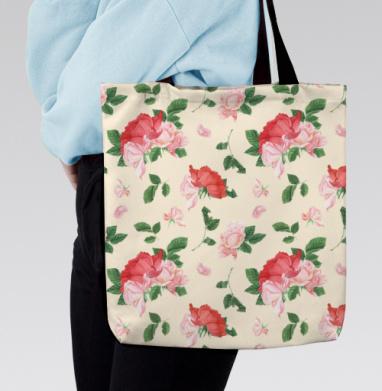 Розовые розы на кремовом фоне, Сумка с полной запечаткой