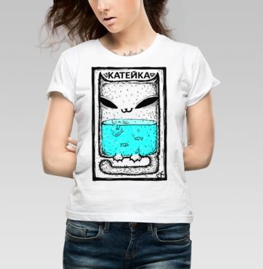 Катейка с рыбками - Купить детские футболки с кошками в Москве, цена детских футболок с кошками  с прикольными принтами - магазин дизайнерской одежды MaryJane