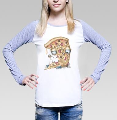 Кусочек пиццы, Футболка лонгслив женская бело-серая