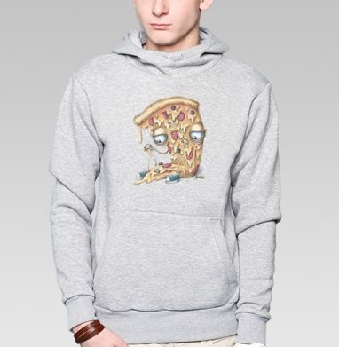 Кусочек пиццы - Толстовка мужская, накладной карман серый меланж