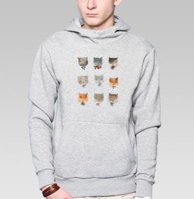 Котитки девять - Толстовка мужская, накладной карман серый меланж