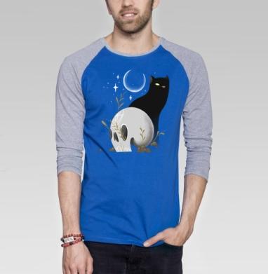 Ночью все кошки серы - Футболка мужская с длинным рукавом синий / серый меланж, Иллюстация