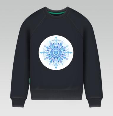 Свитшот мужской темн-синий 340гр, теплый - Зимний узор