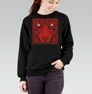 Квадратный волк, Cвитшот женский черный 340гр, теплый