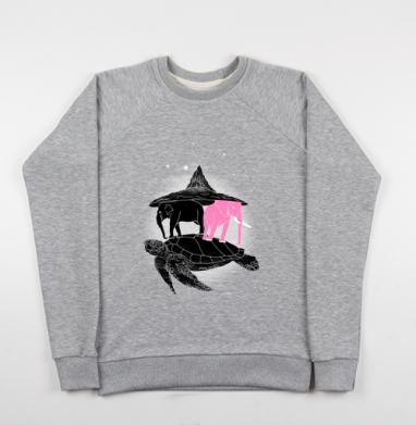 Свитшот мужской серый-меланж 240гр, тонкий - Слоны на черепахе
