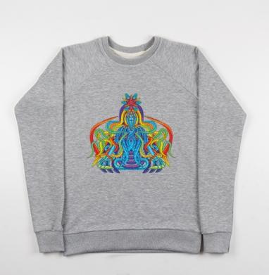 Активная медитация - Cвитшот женский серый-меланж 340гр, теплый, психоделика, Популярные