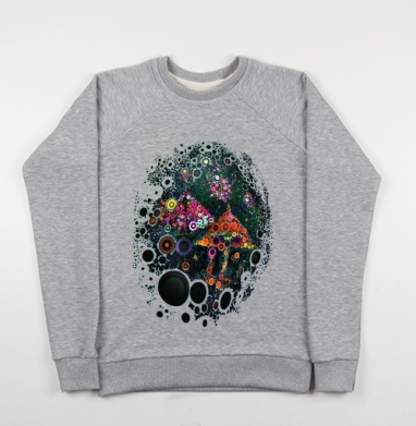 Грибница - Cвитшот женский серый-меланж 340гр, теплый, психоделика, Популярные