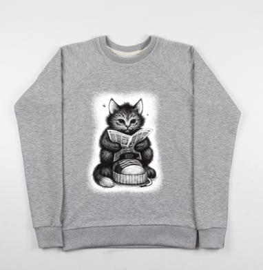 Кот в ботинке, Свитшот мужской серый-меланж 240гр, тонкий