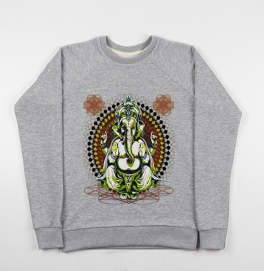 Лорд Ганеша - Cвитшот женский серый-меланж 340гр, теплый, психоделика, Популярные