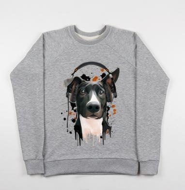 Пёс меломан - Купить детские свитшоты музыка в Москве, цена детских свитшотов музыкальных  с прикольными принтами - магазин дизайнерской одежды MaryJane