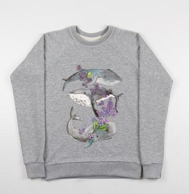 Весенние киты - Купить детские свитшоты с акварелью в Москве, цена детских свитшотов с акварелью  с прикольными принтами - магазин дизайнерской одежды MaryJane