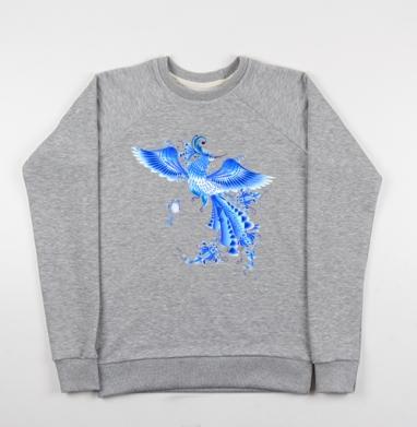 Синяя птица удачи в стиле гжельской росписи - Купить детские свитшоты Россия в Москве, цена детских свитшотов Россия  с прикольными принтами - магазин дизайнерской одежды MaryJane