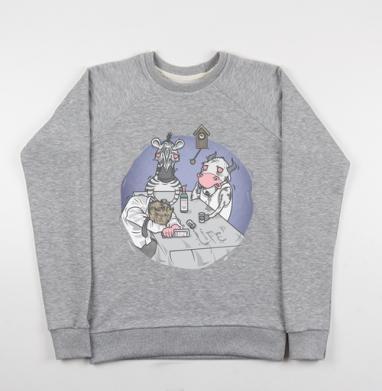 Чёрно-Белая Жизнь - Купить детские свитшоты серые в Москве, цена детских свитшотов серых с прикольными принтами - магазин дизайнерской одежды MaryJane