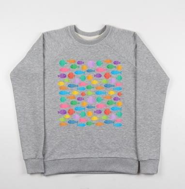Цветные рыбки - Купить детские свитшоты морские  в Москве, цена детских свитшотов морских   с прикольными принтами - магазин дизайнерской одежды MaryJane