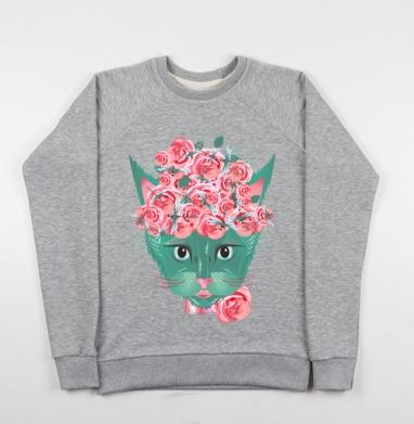 Кошка с кустом роз и стайкой стрекоз - Купить детские свитшоты с роами в Москве, цена детских свитшотов с розой с прикольными принтами - магазин дизайнерской одежды MaryJane