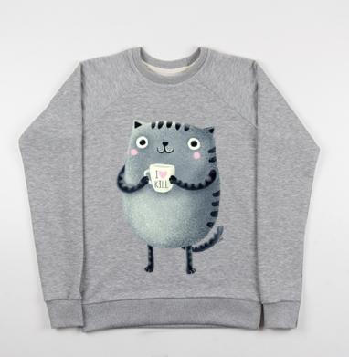 Кот I♥kill - Купить детские свитшоты серые в Москве, цена детских свитшотов серых с прикольными принтами - магазин дизайнерской одежды MaryJane