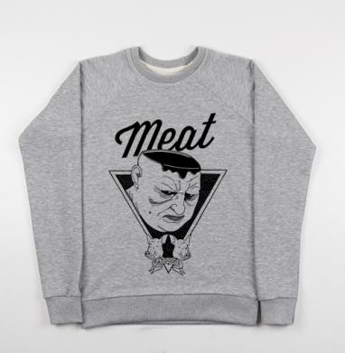 Meat - Cвитшот женский серый-меланж 340гр, теплый, мужские, Популярные