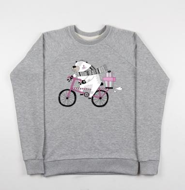 Мишка на велике - Купить детские свитшоты с велосипедом в Москве, цена детских свитшотов с велосипедом с прикольными принтами - магазин дизайнерской одежды MaryJane