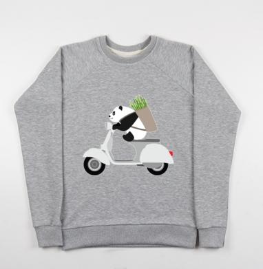 ПАНДА НА ВЕСПЕ, Cвитшот женский серый-меланж 340гр, теплый