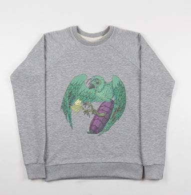 Птичья пыльца - Cвитшот женский серый-меланж 340гр, теплый, психоделика, Популярные