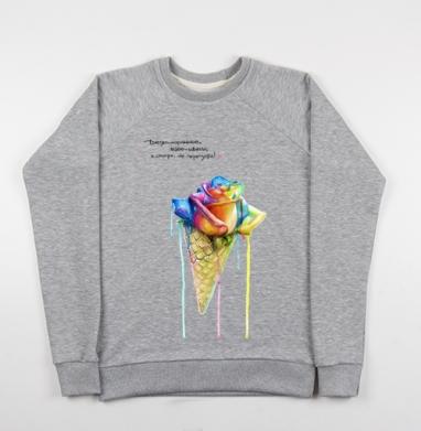Радуга в вафельном стаканчике - Купить детские свитшоты с роами в Москве, цена детских свитшотов с розой с прикольными принтами - магазин дизайнерской одежды MaryJane