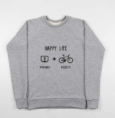 Счастливая жизнь - Купить детские свитшоты с велосипедом в Москве, цена детских свитшотов с велосипедом с прикольными принтами - магазин дизайнерской одежды MaryJane