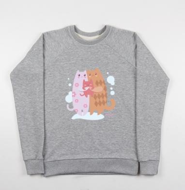 Счастливая семья котиков - Купить детские свитшоты с кошками в Москве, цена детских свитшотов с кошками  с прикольными принтами - магазин дизайнерской одежды MaryJane