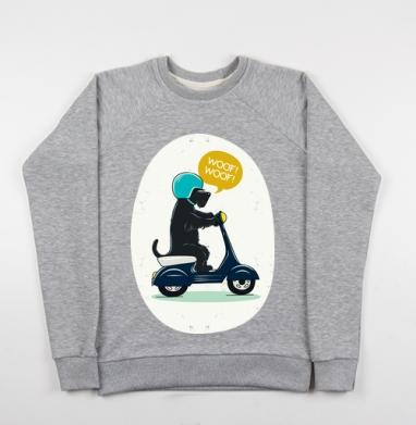 Скотч терьер на мопеде, Cвитшот женский серый-меланж 340гр, теплый