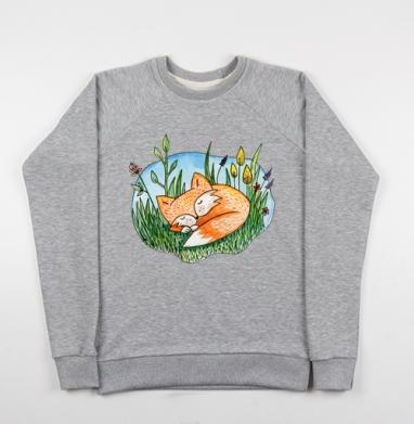 Сонный лис - Купить детские свитшоты с животными в Москве, цена детских свитшотов с животными  с прикольными принтами - магазин дизайнерской одежды MaryJane