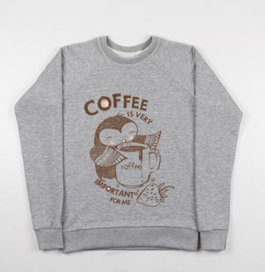 Сова , Cвитшот женский серый-меланж 340гр, теплый