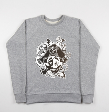 ВесЁлый Пират - Cвитшот женский серый-меланж 340гр, теплый, мужские, Популярные