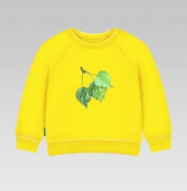 Листья тополя, Cвитшот Детский желтый 240гр, тонкая