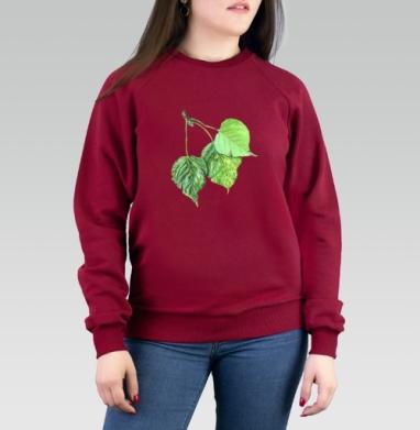 Листья тополя - Cвитшот женский темн.-красный 340гр, теплый, Популярные